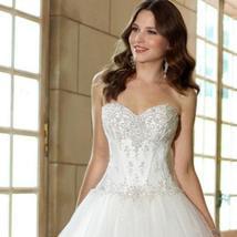 Women's Sweetheart Beaded Corset Bodice Classic Tulle Wedding Dress