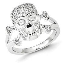 SOLID POLISHED STERLING SILVER CZ SKULL & CROSSBONES RING / BAND -  SIZE 6 - £32.60 GBP