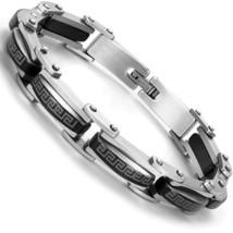 Industrial Greek Pattern 316L Stainless Steel Link Cuff Bracelet for Men... - $69.12