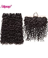Vian water wave ear to ear lace frontal closure with bundles human hair 3 bundles with thumbtall