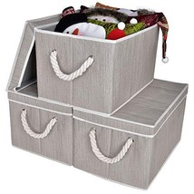 StorageWorks Decorative Storage Bins for Shelves, Storage Baskets with Lids and