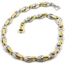 """18K WHITE YELLOW GOLD BRACELET ALTERNATE 5mm OVAL DROP & TUBE LINKS, 21cm, 8.3"""" image 1"""