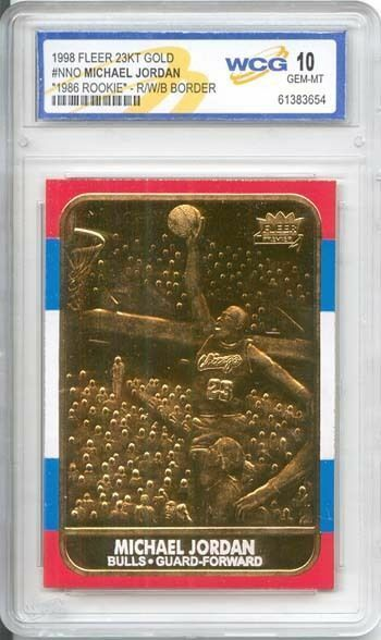 1986 Michael Jordan Fleer Carta Rookie ( Rojas/Blanco / Azul) 23KT Oro Gem-Mt 10
