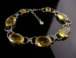 HUGE Graziano necklace - BIG yellow rhinestone choker - statement neckla... - $175.00