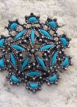 Vintage NYT Faux Turquoise Silver Tone Brooch, Lapel Pin/Scarf Pin, Sign... - $9.00