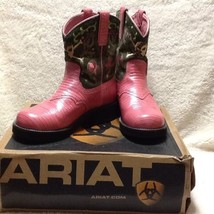 Ariat 7.5 Women's Fatbaby Pink Pearlized Lizard Olive Disco Baby Boots NEW - $102.84