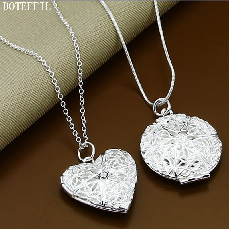 Primary image for Gift 925 Silver Color Necklaces Round Heart Couple Pendant Necklaces Romantic Ne