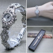 Womens Vintage Marcasite Crystal Silver Tone Brass Bracelet Classic Watch LM01 - $26.99
