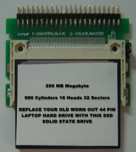 "256MB SSD Replace Old 2.5"" IDE Laptop Drives with this SSD 44PIN Card & Adapter"