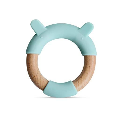 Little Rawr Wooden Teething Toy - Non-Toxic PVC & BPA Free Silicone Teether - Pe