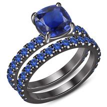 14K Black Gold Over Cushion Cut Sapphire Band Engagement Diamond Unique ... - $97.99