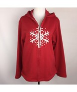 QUACKER FACTORY Womens Full Zip Hooded Sweatshirt Sz M Embellished Snowf... - $24.70
