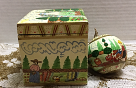 Vintage Paper Mache Christmas Ornament W Matching Box Made in India Hand Painted - $10.10