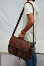 VLC messenger handmade leather laptop satchel bag genuine camera briefcase - $85.54