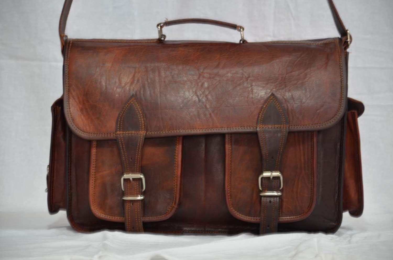 VLC messenger handmade leather laptop satchel bag genuine camera briefcase