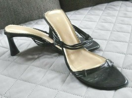 Nine West Heels 7 1/2 Strappy Black Patent Leather Sandals - $9.79