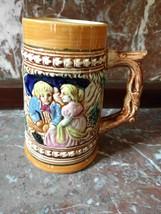 VTG Ceramic Beer Stein Girl and Boy Woods Trees House - $16.44