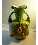 Antique Vienna Austria Crown & HJ Mark Green Porcelain Ewer With Raised ... - $61.99