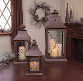 "Set of 3 Cottage-Style Brown Pillar Candle Holder Lanterns 24"""