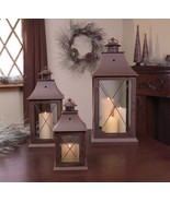 "Set of 3 Cottage-Style Brown Pillar Candle Holder Lanterns 24"" - $97.89"