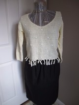 Airport Fringed Pale Yellow Sweater Thin V-Neck - $16.89