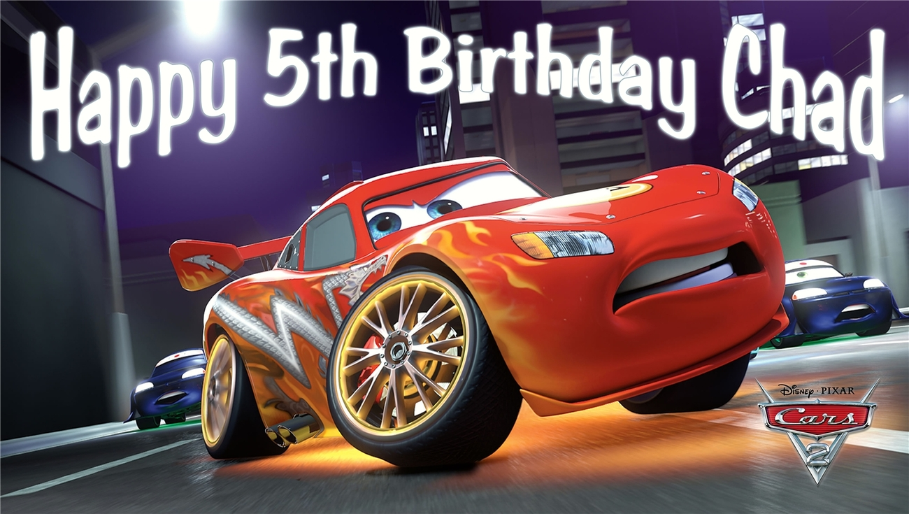Disney Pixar Cars 2 V2 Personalized Custome Birthday Party Banner Decoration