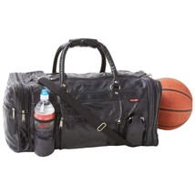 Black Leather  22.5 Inch Gym Duffel Bag W/ Multiple Pockets & Cell Phone... - $925,86 MXN