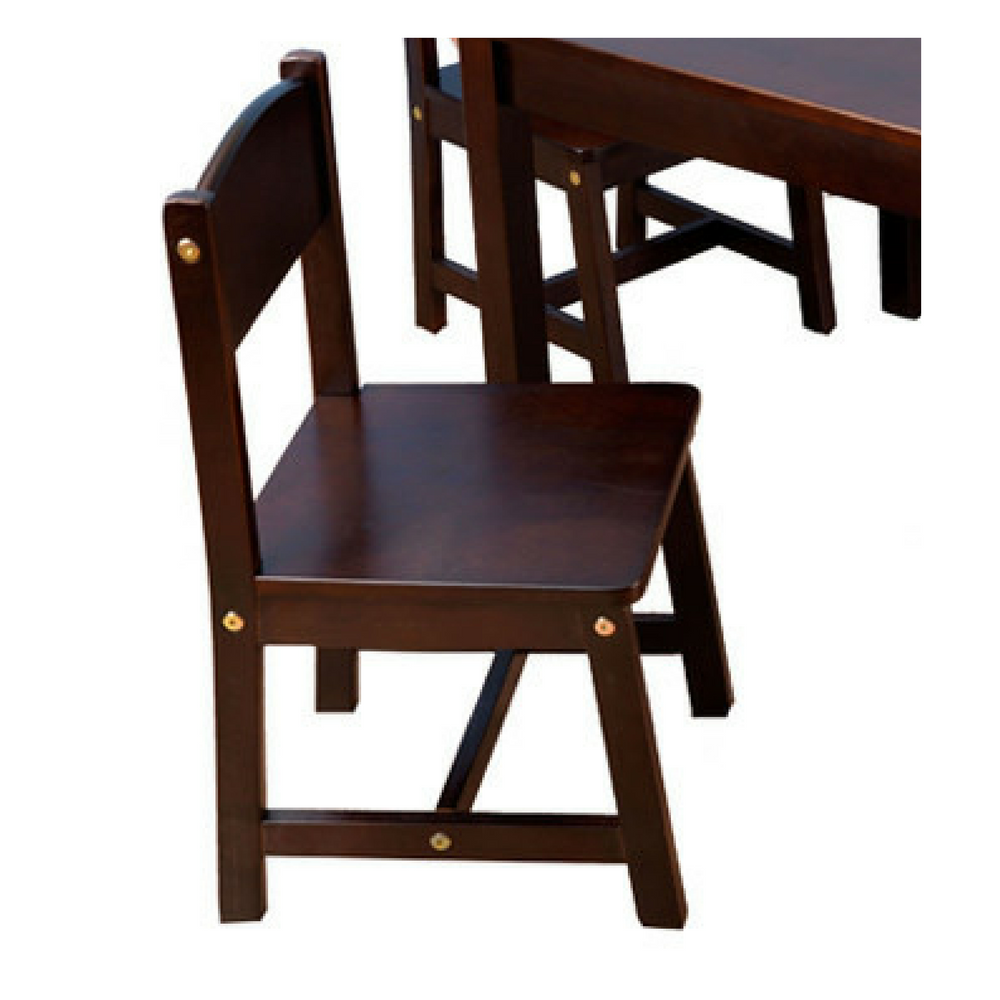 Kids Table And Chairs Set Espresso: Kids Table And 4 Chairs Activity Set Wooden Furniture