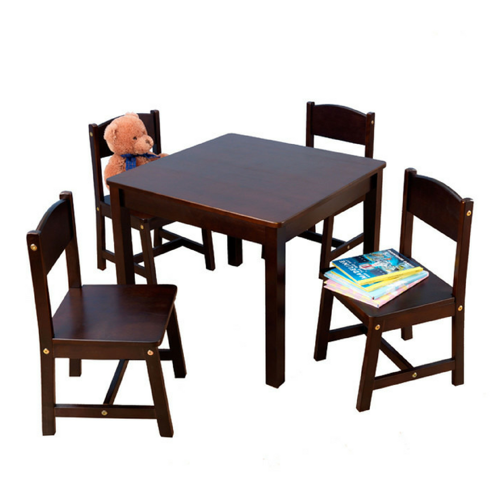 Kids table and 4 chairs activity set wooden furniture for Wooden furniture