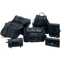 7 Piece Black Genuine Buffalo Leather Universal Fit Motorcycle Luggage B... - $107.90
