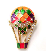 Colorful Hot Air Balloon Red Green Purple Gold Enamel Crystal Brooch Pin... - $9.99