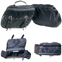 2 Pc Black Genuine Buffalo Leather Motorcycle Saddle Bag Set With Padded... - $1.323,04 MXN