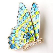 Flying Wing Butterfly Insect Vintage Yellow Gre... - $8.99