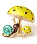 Lovely Mushroom Spotted Toadstool Gold Blue Brown Snail Vintage Brooch P... - $8.99
