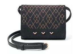 Stella & Dot Small Nolita Black/Metallic 3 In 1 - Crossbody Clutch Wallet - $477,12 MXN