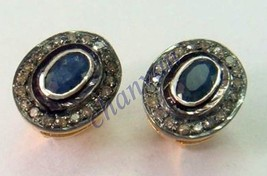 Vintage Insp.d 0.80Ct Rose Cut Diamond Sterling Silver Sapphire Earring ... - $1.930,38 MXN