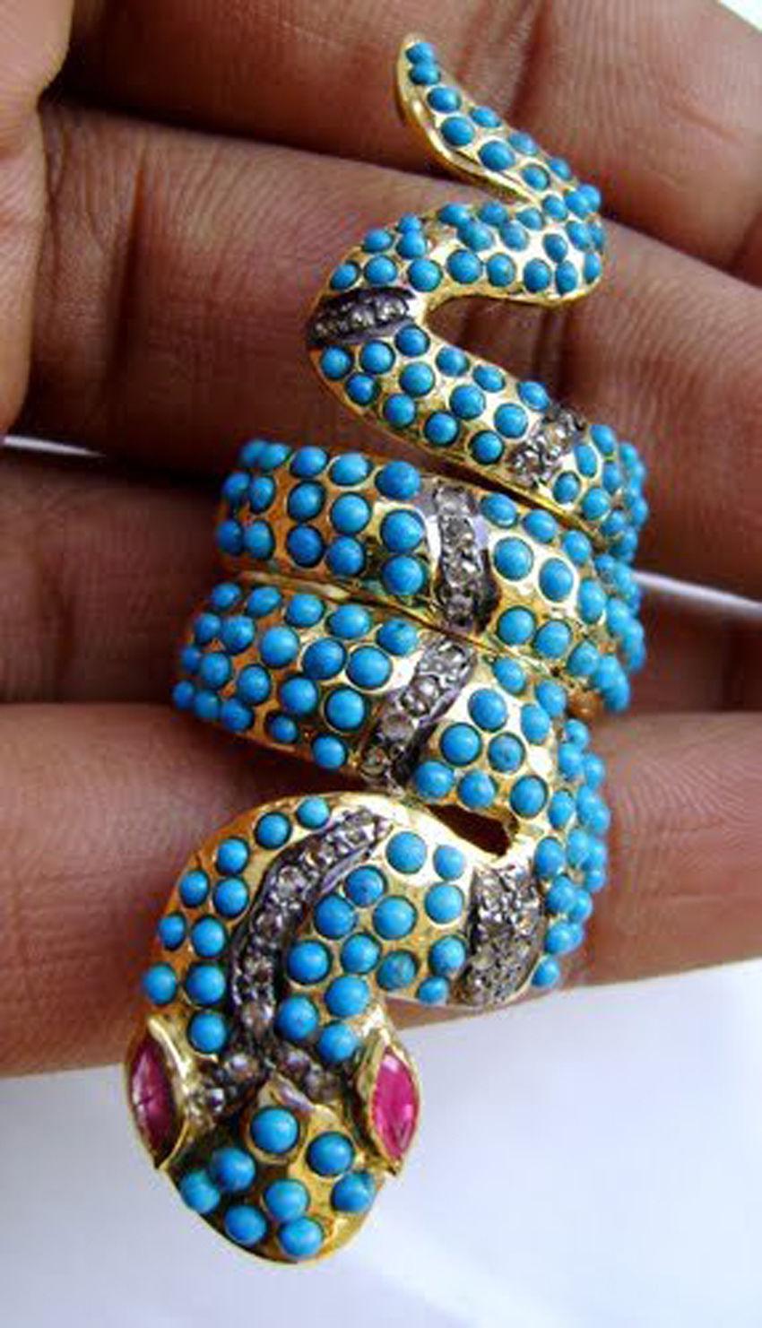 Vintage/Antique Repro. Rose Cut Diamond 925 Silver Turquoise  Ring @CSJUK579