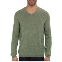 Calvin Klein Men's Merino V-Neck Sweater, Pasture Heather Small - $28.22