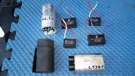 6PP93 ASSORTED CAPACITORS: 2100V / 0.91MF, 250V / 45MF, 250V / 4MF (2), ... - $29.66