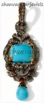 Vintage INS 1.35Ct Rose Cut Diamond 925 Silver Turquoise Pendant Jewelry@CJUK526 - $244.13