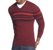 Alfani Mens V-Neck Regular Fit Stripe Pullover Sweater Red X-Large - $23.75