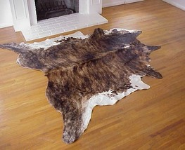 Dark Brindle White Belly Brazilian Cowhide Rug Large 36 to 40 s.f. - $269.00