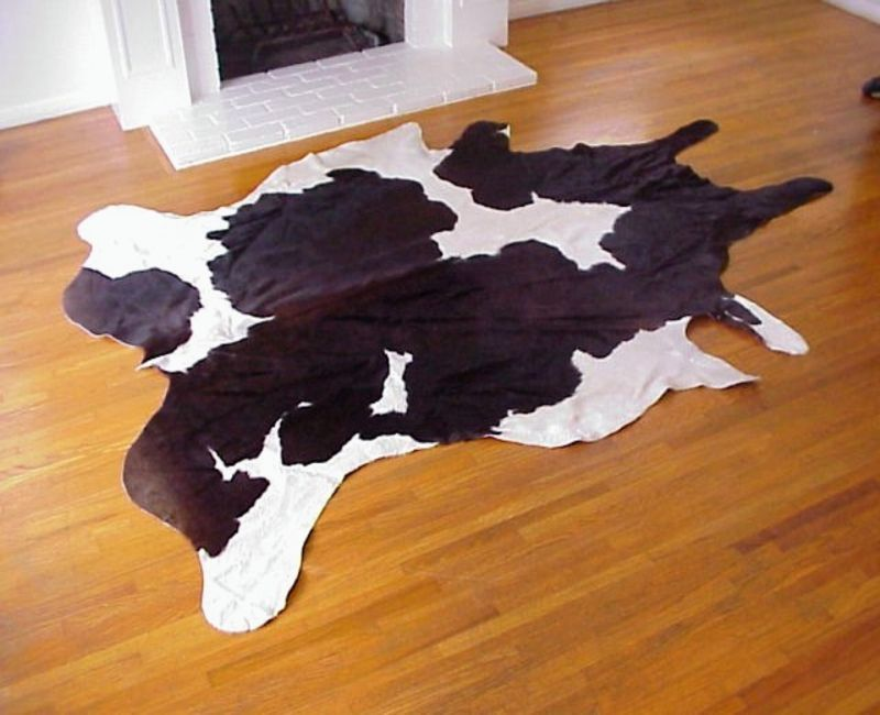 Black and White Cloud 50 to 50 Brazilian Cowhide Rug Medium 32 to 36 s.f.