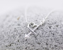 925 Sterling Silver Heart Sideways Arrow Necklace, Heart Arrowhead Neckl... - $35.00