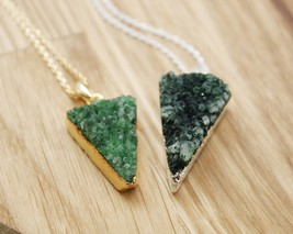 Triangle Emerald Green Druzy Pendant Necklace in 2 colors, N0777G - $24.00