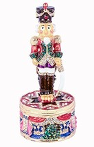 Nutcracker Standing On Round Base Trinket Box, Swarovski Crystal, Hand P... - $44.99