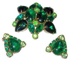 Brooch Earring Demi Set Emerald & Lime Green Rhinestones Gold Metal Desi... - €28,48 EUR
