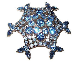 "Sky Blue Rhinestone Brooch Pin Scallop Design BIG 2 3/4"" Silver Metal Vi... - $35.00"
