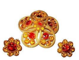 Juliana Brooch Earring D&E Designer Set Orange Yellow Rhinestones Gold M... - €38,15 EUR