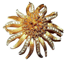 "BSK Rhinestone Brooch Pin Signed Atomic Ice Cluster Gold Metal 2 1/4"" Vi... - $25.00"